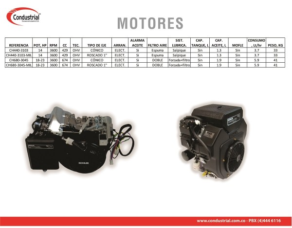 MOTOR A GASOLINA KOHLER CH440-3103
