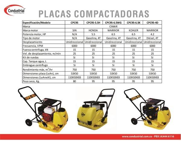 PLACA COMPACTADORA A GASOLINA - CIMAR - CPC95-6.5K