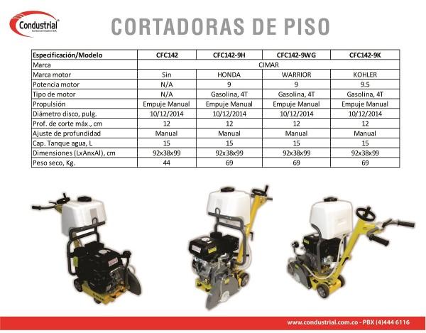 CORTADORA DE PISO A GASOLINA 4T CIMAR CFC142-9WG