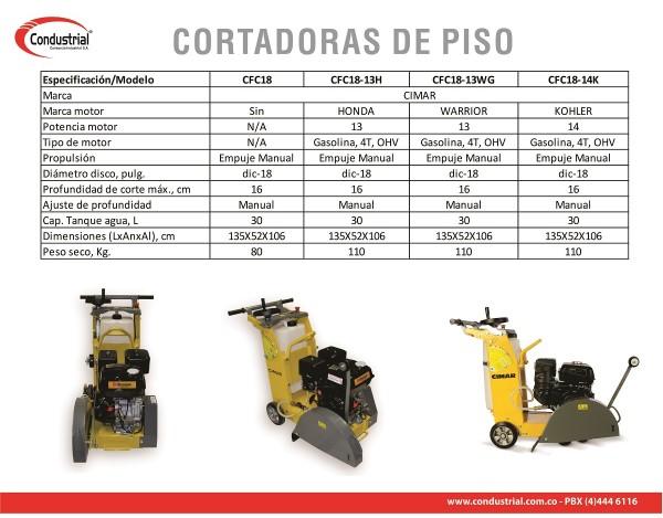 CORTADORA DE PISO A GASOLINA 4T - CIMAR - CFC18-13WG