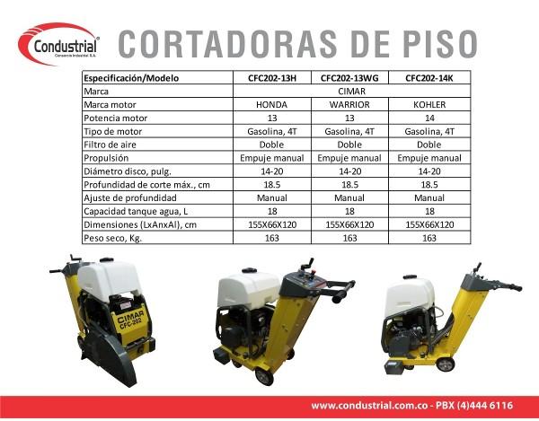 CORTADORA DE PISO A GASOLINA 4T CIMAR CFC202-13WG