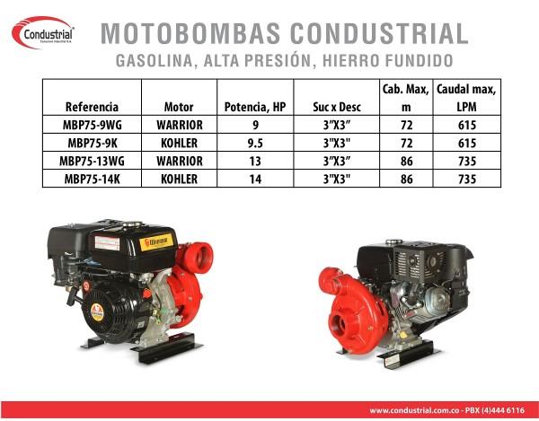MOTOBOMBA A GASOLINA ALTA PRESION - CONDUSTRIAL - MBP75-9K
