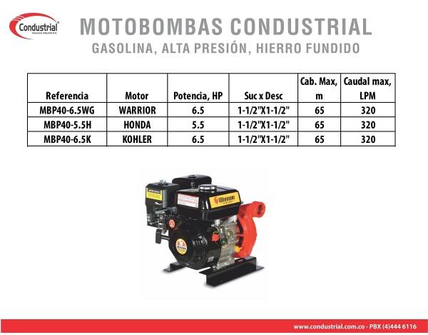 MOTOBOMBA A GASOLINA ALTA PRESION CONDUSTRIAL MBP40-6.5K