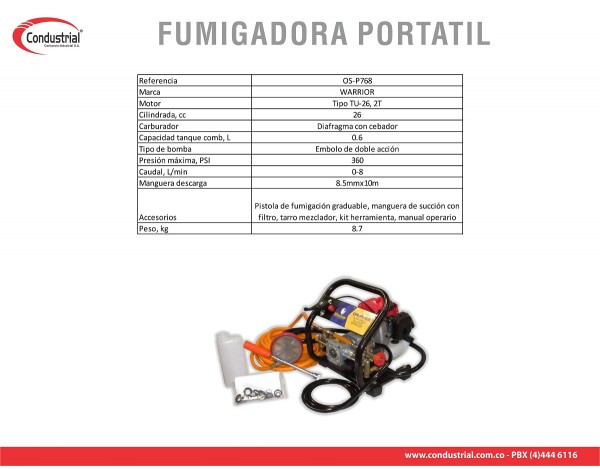 FUMIGADORA PORTATIL WARRIOR OS-P768