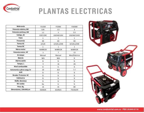 PLANTA ELECTRICA  A GASOLINA WARRIOR FC3500