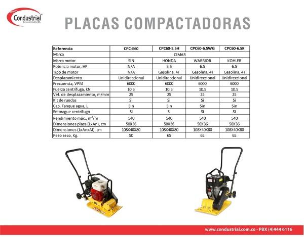 PLACA COMPACTADORA A GASOLINA - CIMAR - CPC60-6.5WG