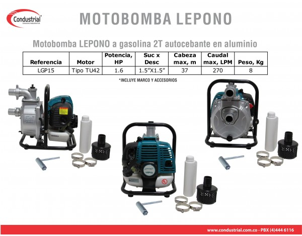 MOTOBOMBA A GASOLINA  AUTOCEBANTE  LEPONO LGP15