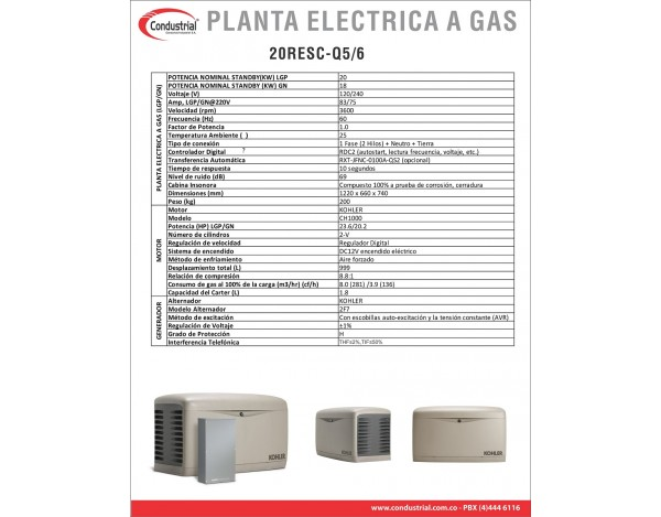 PLANTA ELECTRICA A GAS KOHLER 20RESC-QS